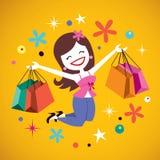 Het gelukkige meisje winkelen Stock Afbeeldingen