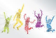 Het gelukkige mensen springen Stock Afbeelding