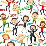 Het gelukkige mensen springen Stock Foto's
