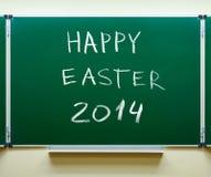 Het gelukkige met de hand geschreven krijt van Pasen 2014 Royalty-vrije Stock Afbeelding