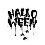 Het gelukkige met de hand geschreven van letters voorzien van Halloween met Stromend bloed, spinnen stock illustratie