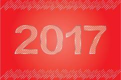 Het gelukkige metaal van het Nieuwjaaraantal kijkt Rood & Zilveren Stock Foto's