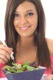 Het gelukkige model gezond eten Royalty-vrije Stock Foto's