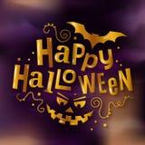Het gelukkige modieuze gouden van letters voorzien van Halloween met enge pompoengezicht en knuppel Vector illustratie royalty-vrije illustratie