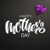 Het gelukkige Moeder` s Dag van letters voorzien op zwarte achtergrond stock illustratie