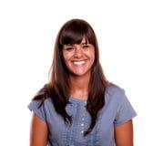 Het gelukkige mooie jonge vrouw lachen Stock Fotografie