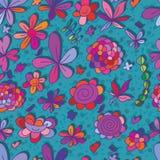 Het gelukkige naadloze patroon van de bloem kleine vogel Stock Afbeelding