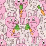 Het gelukkige naadloze patroon van de konijnwortel vector illustratie