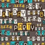 Het gelukkige naadloze patroon van de Verjaardagspartij Stock Afbeeldingen