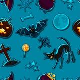 Het gelukkige naadloze patroon van Halloween met stickers stock illustratie