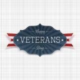 Het gelukkige nationale Embleem van de Veteranendag met Lint royalty-vrije illustratie