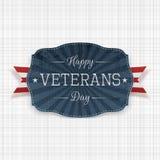 Het gelukkige nationale Etiket van de Veteranendag met Lint vector illustratie
