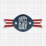 Het gelukkige nationale Kenteken van de Veteranendag met Lint vector illustratie
