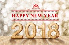 Het gelukkige nieuwe aantal van jaar 2018 3d renderingwood in perspectiefroo Stock Afbeeldingen