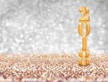 Het gelukkige nieuwe gouden het aantal van het jaar 2018 jaar 3d teruggeven bij sparkli Royalty-vrije Stock Afbeeldingen