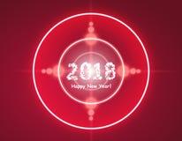 Het gelukkige nieuwe jaar 2018 in bokeh en de lens flakkeren patroon op de zomer oranje achtergrond Royalty-vrije Stock Afbeelding