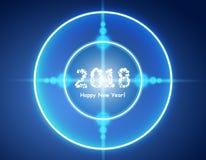 Het gelukkige nieuwe jaar 2018 in bokeh en de lens flakkeren patroon op de zomer oranje achtergrond Royalty-vrije Stock Foto's
