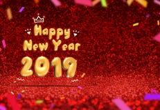 Het gelukkige nieuwe jaar 2019 3d teruggeven bij perspectief het rode fonkelen royalty-vrije illustratie