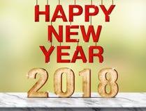 Het gelukkige nieuwe jaar 2018 3d teruggeven op marmeren lijst bij groene abst Royalty-vrije Stock Foto
