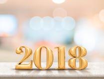 Het gelukkige nieuwe jaar 2018 3d teruggeven op marmeren lijstbovenkant met onduidelijk beeld Stock Foto's