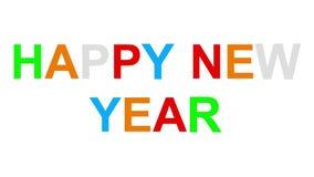 Het gelukkige nieuwe jaar - 30fps-lijn - verdeelde speelse kleurrijke brieven tweede willekeurig stock footage