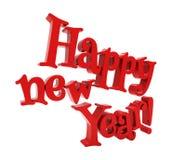 Het gelukkige nieuwe jaar geïsoleerd van letters voorzien Stock Afbeelding