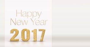 Het gelukkige nieuwe jaar 2017 goud schittert textuur op de witte bedelaars van de studioruimte Royalty-vrije Stock Fotografie