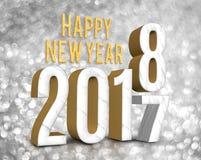 Het gelukkige nieuwe jaar van de jaar 2018 3d teruggevende verandering vanaf 2017 Stock Foto