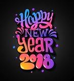 Het gelukkige Nieuwe Jaar van 2018 De kaart van groeten Kleurrijk het van letters voorzien ontwerp Vector illustratie Stock Foto's