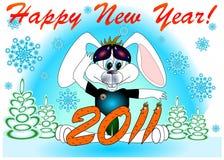 Het Gelukkige nieuwe jaar van de prentbriefkaar! 2011   Stock Fotografie