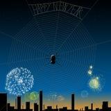 Het gelukkige nieuwe jaar van de spin. Stock Foto's
