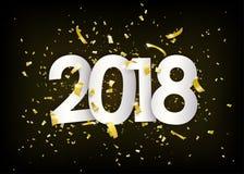 het gelukkige nieuwe jaar van 2018 Gouden confettien, uiterst kleine document stukken op donkere zwarte achtergrond Royalty-vrije Stock Afbeeldingen