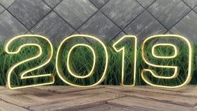 Het gelukkige nieuwe jaar van 2019 Gouden nummer 2019 van de vakantie 3d illustratie Op een houten achtergrond Groen gras In dekk stock foto's