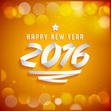 Het gelukkige Nieuwe jaar 2016 van letters voorzien gemaakt met linten Stock Afbeeldingen