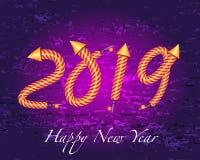 het gelukkige nieuwe jaar van 2019 met het effect van het raketvuurwerk vector illustratie