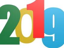 Het gelukkige Nieuwe Jaar van 2019 op wit Royalty-vrije Stock Foto