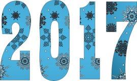 Het gelukkige nieuwe jaar van 2017 Sneeuwvlokken Stock Foto