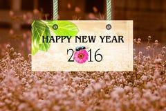Het gelukkige nieuwe jaar voorziet van wegwijzers Stock Foto