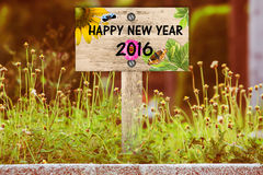 Het gelukkige nieuwe jaar voorziet van wegwijzers Royalty-vrije Stock Fotografie