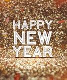 Het gelukkige Nieuwe jaarwoord bij fonkelend goud schittert achtergrond met mede Royalty-vrije Stock Afbeelding