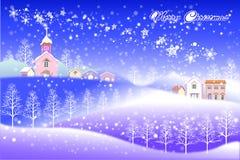 Het gelukkige nieuwe landschap van jaar vrolijke Kerstmis - Creatieve illustratie eps10 Royalty-vrije Stock Fotografie