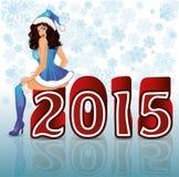 Het gelukkige Nieuwe meisje van het Jaar seksuele santa van 2015 Stock Afbeelding
