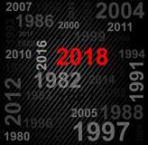 Het gelukkige nieuwe ontwerp van de jaar 2018 tekst Stock Foto