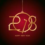Het gelukkige nieuwe ontwerp van de jaar 2018 tekst Gouden tekst in vormkerstmis B Royalty-vrije Stock Foto's