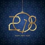 Het gelukkige nieuwe ontwerp van de jaar 2018 tekst Gouden tekst in vormkerstmis B Royalty-vrije Stock Afbeelding