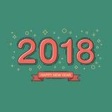 Het gelukkige nieuwe ontwerp van de jaar 2018 tekst lijn vlak ontwerp Abstracte kleur Royalty-vrije Stock Afbeelding
