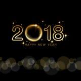 Het gelukkige nieuwe ontwerp van de jaar 2018 tekst met gouden ster en zwarte backg Stock Foto's