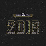 Het gelukkige nieuwe ontwerp van de jaar 2018 tekst met ster en zwarte achtergrond Stock Foto