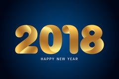 Het gelukkige nieuwe ontwerp van de jaar 2018 tekst Modern gouden tekstontwerp op bl Royalty-vrije Stock Fotografie
