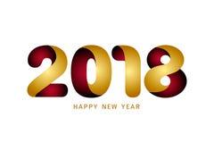 Het gelukkige nieuwe ontwerp van de jaar 2018 tekst Moderne gouden en rode tekstdesi Royalty-vrije Stock Foto's